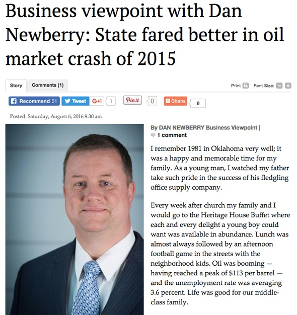 Business viewpoint with Dan Newberry: State fared better in oil market crash of 2015