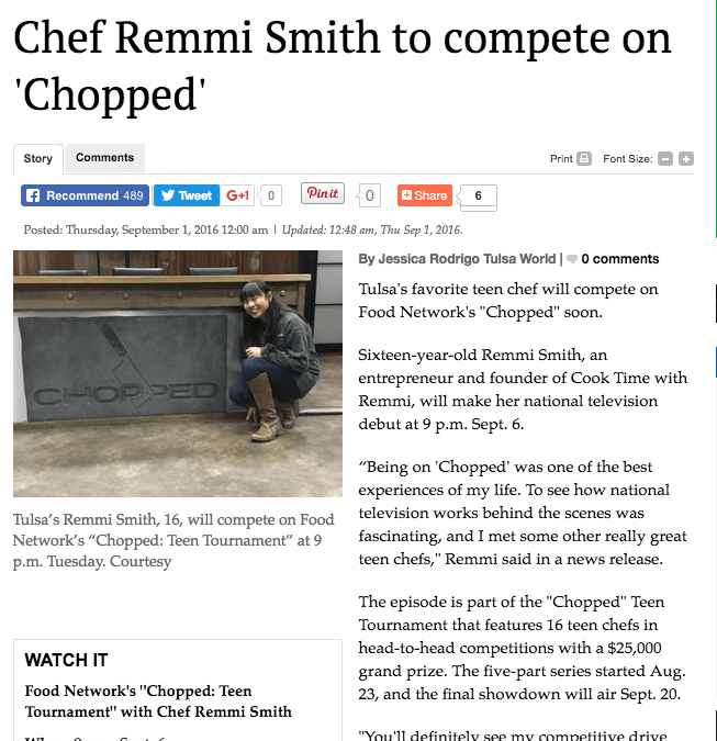 Chef Remmi Smith to compete on 'Chopped'