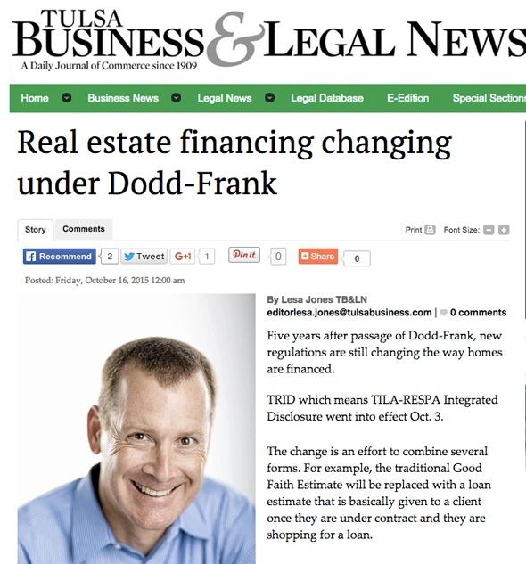 Real estate financing changing under Dodd-Frank