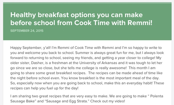 Healthy breakfast options you can make before school from Cook Time with Remmi!