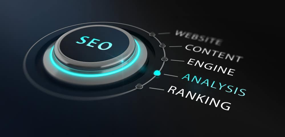 Modern SEO switch or button. 3d Rendering.